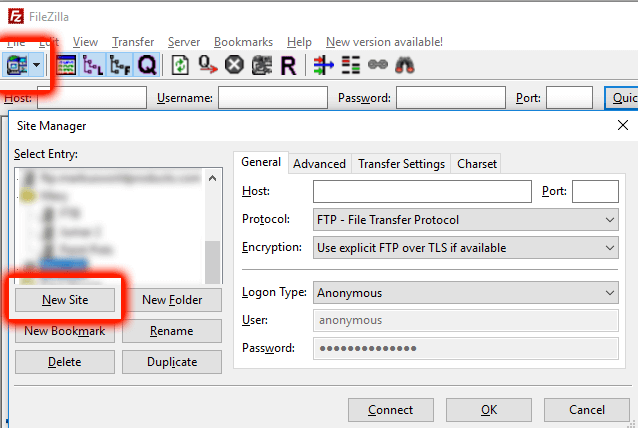 Connecting to website server with FileZilla