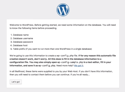 WordPress: Information screen