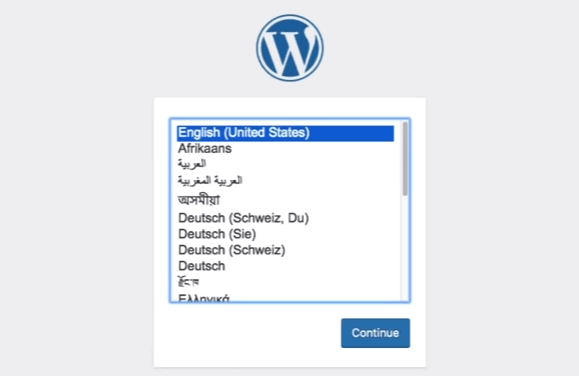WordPress: Select language