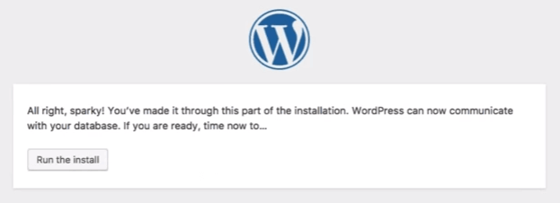 WordPress: Run install