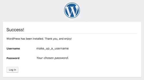 WordPress: Success screen